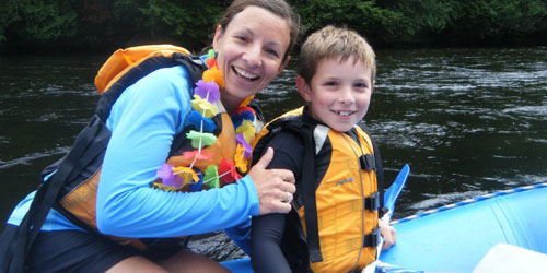 Mom & Son 500x250 - Crab Apple Whitewater - The Forks, ME