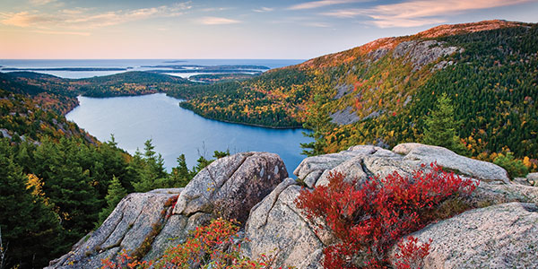 Summer in Maine - Sunrise at Jordon Pond View from North Bubble at Acadia National Park - Photo Credit ME Office of Tourism
