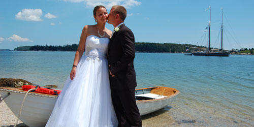 Bride & Groom on the Shore - Maine Windjammers - Camden ME
