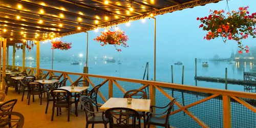 Foggy Outdoor Dining - Fisherman's Wharf Inn - Boothbay Harbor, ME