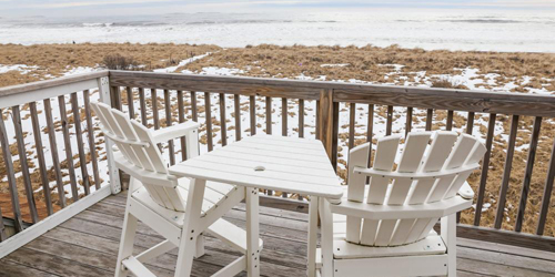 Cottage Deck in Winter - Waves Oceanfront Resort - Old Orchard Beach, ME