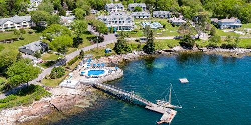 Close Aerial View - Spruce Point Inn - Boothbay Harbor, ME