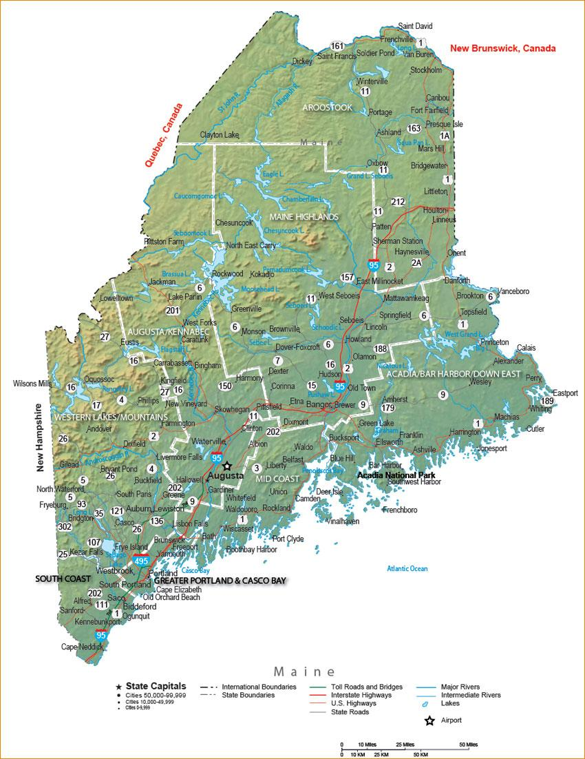 Maine Map Images.Maine State Maps Travel Guides To Maine
