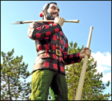 Paul Bunyon statue greet visitors to the historic logging town of Bangor Maine