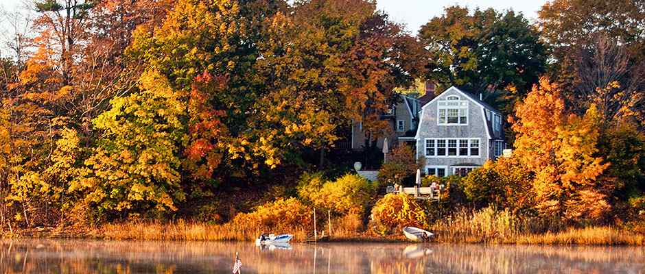 Fall Shoreline and House in Maine